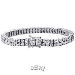 White Diamond Bracelet Mens 2 Row Tennis Link Design Sterling Silver 0.38 ct