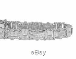 White Gold Finish Real Diamond Designer Men's Pave Bracelet 1/2 CT 8 12MM