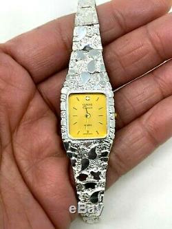 Women's 925 Sterling Silver Nugget Link Geneve Diamond Wrist Watch 6.5-7 24.7g