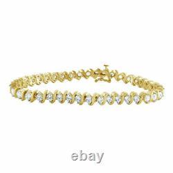 Women's Tennis Bracelet 7.25 5.00 Ct Round Cut Diamond 10K Yellow Gold Finish