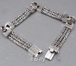 Woven Bali Byzantine Curb Chain 925 Sterling Silver Mens Bracelet 8 8.5 9 10