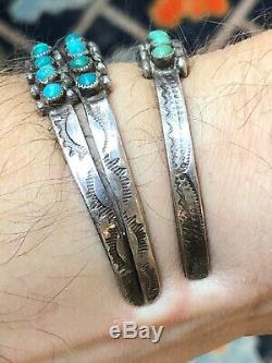Wow! 2 Old Sterling Silver Round Cabochon Turquoise Navajo Vintage Cuff Bracelet