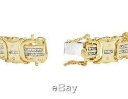 Yellow Gold Finish Real Diamond Designer Men's Pave Bracelet 1/2 CT 8 12MM