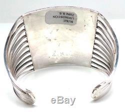Zuni 10 Row Handmade Sterling Silver Turquoise Bracelet -S. Livingston