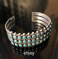 Zuni Sterling Silver Turquoise Three Row Cuff Bracelet Old Pawn Fred Harvey Era